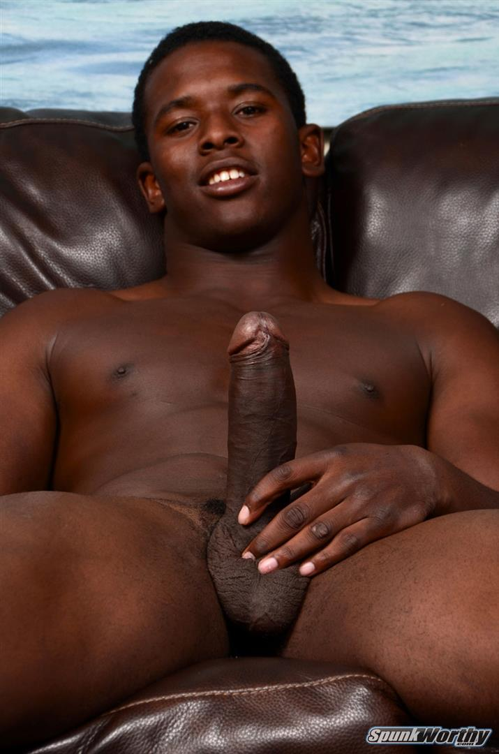 Straight College Football Player Jerking His Big Uncut Black ...