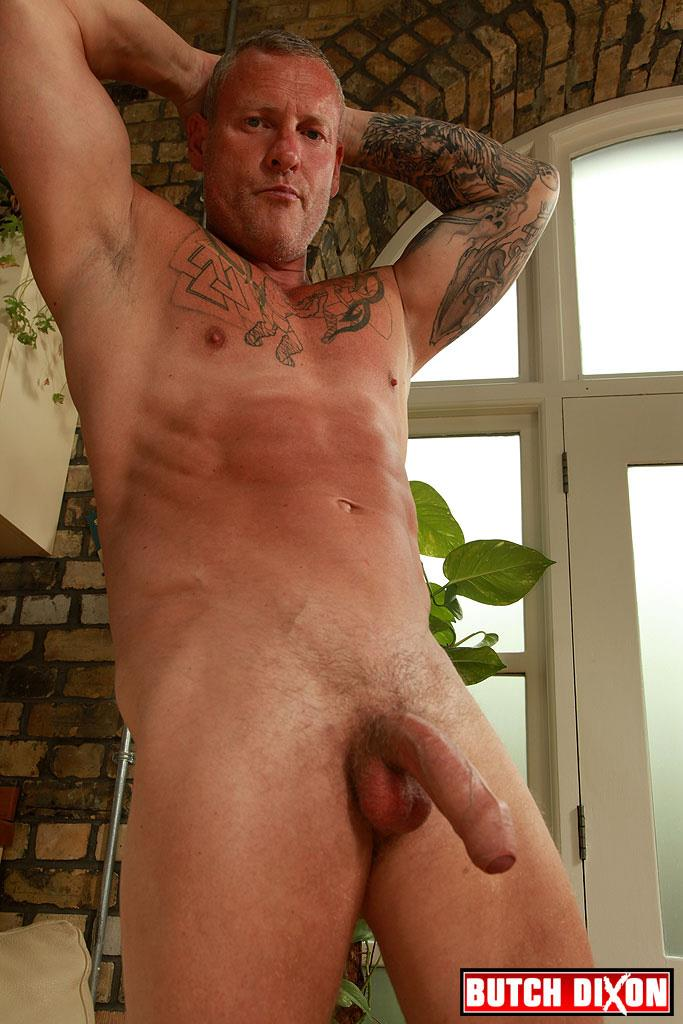 """Butch-Dixon-Big-T-British-Muscle-Daddy-With-A-Big-Uncut-Cock-Amateur-Gay-Porn-22 British Muscle Daddy Jerking Off His Big 9"""" Uncut Cock"""